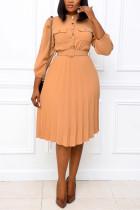 Khaki Fashion Casual Regular Sleeve Three Quarter Mandarin Collar Pleated Knee Length Solid Dresses