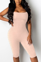 Light Pink Fashion Sexy U Neck Sleeveless Off The Shoulder Skinny Solid Romper