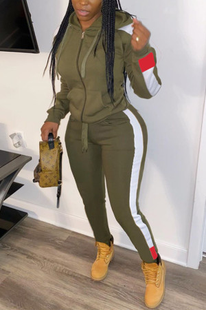 Army Green Fashion Casual Sportswear Long Sleeve Zipper Collar Regular Sleeve Regular Patchwork Two Pieces