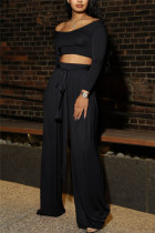 Black Sexy Casual Long Sleeve Boat Neck Regular Sleeve Short Solid Two Pieces