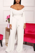 White Sexy Casual Long Sleeve Boat Neck Regular Sleeve Short Solid Two Pieces
