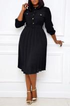 Black Fashion Casual Regular Sleeve Three Quarter Mandarin Collar Pleated Knee Length Solid Dresses