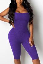Purple Fashion Sexy U Neck Sleeveless Off The Shoulder Skinny Solid Romper