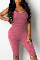 Rose Red Fashion Sexy U Neck Sleeveless Off The Shoulder Skinny Solid Romper