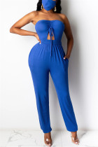 Blue Sexy bandage Solid Polyester Sleeveless Wrapped Jumpsuits