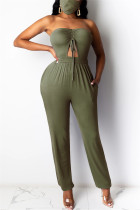 Army Green Sexy bandage Solid Polyester Sleeveless Wrapped Jumpsuits