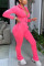 Pink Fashion Sexy Street Long Sleeve Zipper Collar Regular Sleeve Short Solid Two Pieces