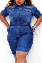 Blue Fashion Casual Turndown Collar Short Sleeve Regular Sleeve Patchwork Plus Size Romper