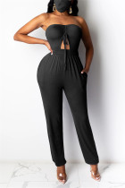 Black Sexy bandage Solid Polyester Sleeveless Wrapped Jumpsuits