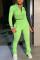 Green Fashion Sexy Street Long Sleeve Zipper Collar Regular Sleeve Short Solid Two Pieces