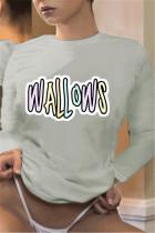 Gray Fashion Casual O Neck Long Sleeve Regular Sleeve Regular Letter Print Tops