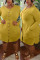 Ginger Yellow Fashion Sexy O Neck Long Sleeve Regular Sleeve Solid Long Sleeve Dress Plus Size