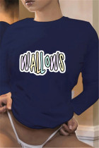 Navy Blue Fashion Casual O Neck Long Sleeve Regular Sleeve Regular Letter Print Tops