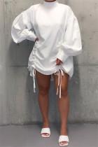 White Fashion Sleeve Long Sleeves O neck Straight skirt bandage Dresses
