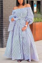 Blue Fashion Casual Off The Shoulder Three Quarter Bateau Neck Printed Dress Floor Length Striped Dresses