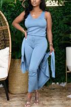 Light Blue Fashion Casual Long Sleeve U Neck Regular Sleeve Regular Solid Three-piece Set