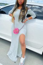 Gray Fashion Sexy Regular Sleeve Long Sleeve O Neck Floor Length Solid Dresses