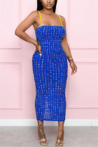 Blue Sexy Off The Shoulder Sleeveless Spaghetti Strap Sling Dress Mid Calf Patchwork Dresses