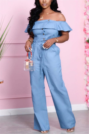 Light Blue Fashion Sexy Short Sleeve Bateau Neck Off The Shoulder Short Solid Two Pieces