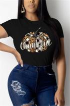 Black Fashion Casual O Neck Short Sleeve Regular Sleeve Regular Print Tops