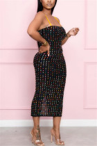 Black Sexy Off The Shoulder Sleeveless Spaghetti Strap Sling Dress Mid Calf Patchwork Dresses