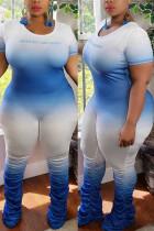 Blue Fashion Sexy adult Ma'am O Neck Patchwork Gradient Stitching Plus Size