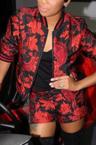 Red Fashion Casual Long Sleeve Zipper Collar Regular Sleeve Regular Print Two Pieces