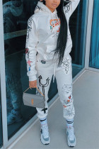 White Fashion Casual Long Sleeve Hooded Collar Regular Sleeve Regular Print Two Pieces