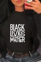 Black Fashion Casual O Neck Long Sleeve Regular Sleeve Regular Letter Print Tops