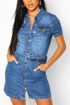 Light Blue Fashion Sexy Regular Sleeve Short Sleeve Turndown Collar Denim Dress Mini Solid Dresses