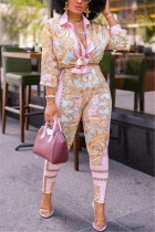Pink Fashion Casual Long Sleeve Turndown Collar Regular Sleeve Regular Print Two Pieces
