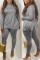 Gray Fashion Casual Sportswear Long Sleeve Turtleneck Regular Sleeve Regular Solid Two Pieces
