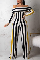Black Sexy Striped Long Sleeve one word collar Jumpsuits
