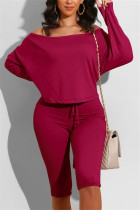 Wine Red Casual Long Sleeve Boat Neck Regular Sleeve Regular Solid Two Pieces