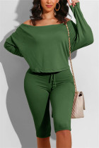 Army Green Casual Long Sleeve Boat Neck Regular Sleeve Regular Solid Two Pieces