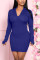 Blue Fashion Sexy Regular Sleeve Long Sleeve Hooded Collar Mini Solid Dresses