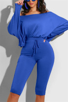 Blue Casual Long Sleeve Boat Neck Regular Sleeve Regular Solid Two Pieces