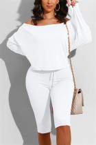 White Casual Long Sleeve Boat Neck Regular Sleeve Regular Solid Two Pieces