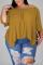 Earthy Yellow Fashion Casual Bateau Neck Half Sleeve Regular Sleeve Solid Plus Size Tops