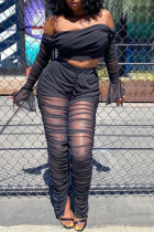 Black Fashion Sexy Long Sleeve Strapless Flare Sleeve Short Solid Two Pieces