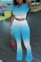 Light Blue Fashion Casual Short Sleeve V Neck Regular Sleeve Short Gradual Change Two Pieces