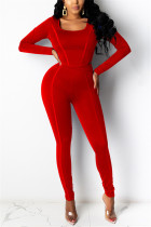 Red Fashion Casual Long Sleeve U Neck Regular Sleeve Short Solid Two Pieces