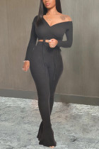 Black Fashion Casual Long Sleeve V Neck Regular Sleeve Short Solid Two Pieces