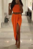 Orange Fashion Sexy Sleeveless O Neck Tank Short Solid Two Pieces