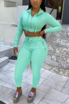 Fluorescent Green Fashion Casual Sportswear Long Sleeve Zipper Collar Regular Sleeve Short Solid Two Pieces