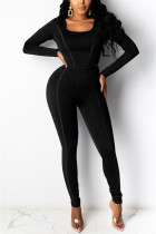 Black Fashion Casual Long Sleeve U Neck Regular Sleeve Short Solid Two Pieces