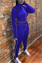 Royal Blue Fashion Casual Long Sleeve Turtleneck Regular Sleeve Short Solid Two Pieces