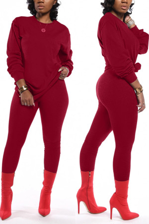 Wine Red Fashion Casual Long Sleeve O Neck Regular Sleeve Regular Solid Two Pieces