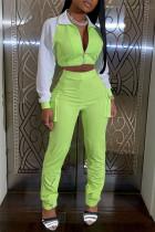 Fluorescent Green Casual Sportswear Long Sleeve Zipper Collar Regular Sleeve Short Patchwork Two Pieces