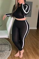 Black Fashion Casual O Neck Long Sleeve Regular Sleeve Striped Patchwork Plus Size Set